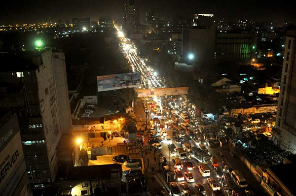 night view of traffic in Karachi