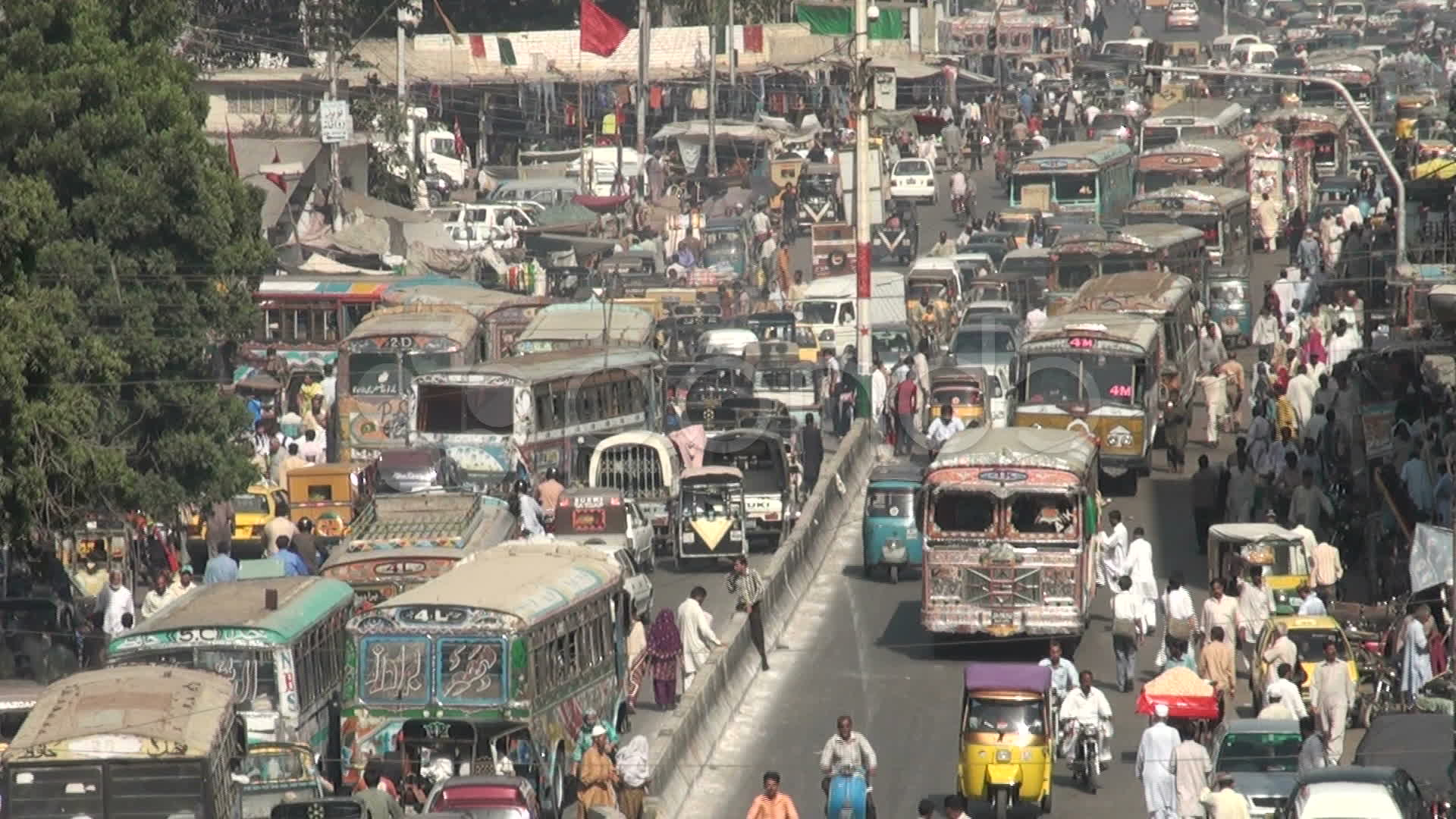 A normal day on busy Karachi streets with massive traffic